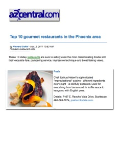 "AZ Central - ""Top 10 Gourmet Restaurants"" - Seftel Picks"