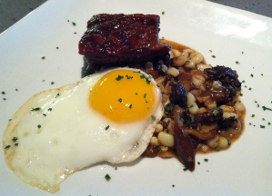 Wild boar bacon with crispy leeks, poulet egg and miso sweet corn