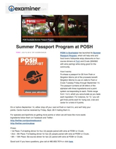 "Examiner - ""Posh launches summer passport program"""