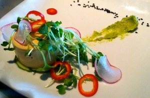 Uni panna cotta, radish sprouts, fresno chili and avocado puree