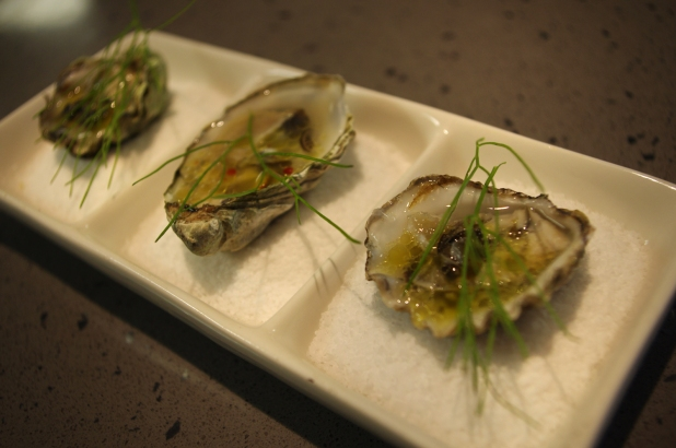 Oyster with vanilla sherry vinaigrette