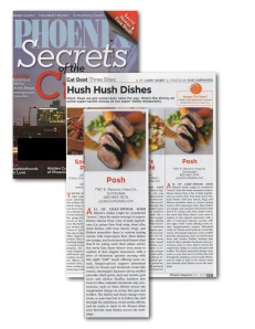 "Phoenix Magazine - ""Hush Hush Dishes"""