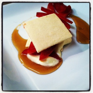 White chocolate shortbread with local honey and dinosaur plum